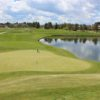 A view of a hole with water coming into play at Meridian Golf Club