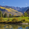 A fall day view from Vail Golf Club